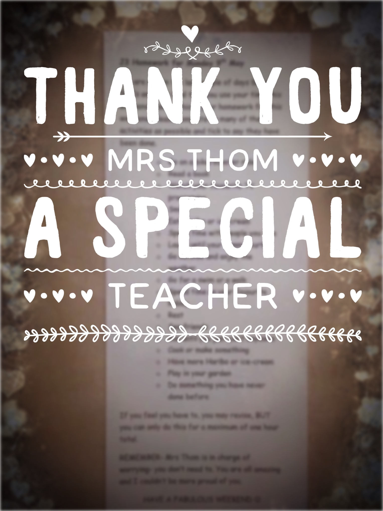 FOUND! Special Teacher, Mrs Thom